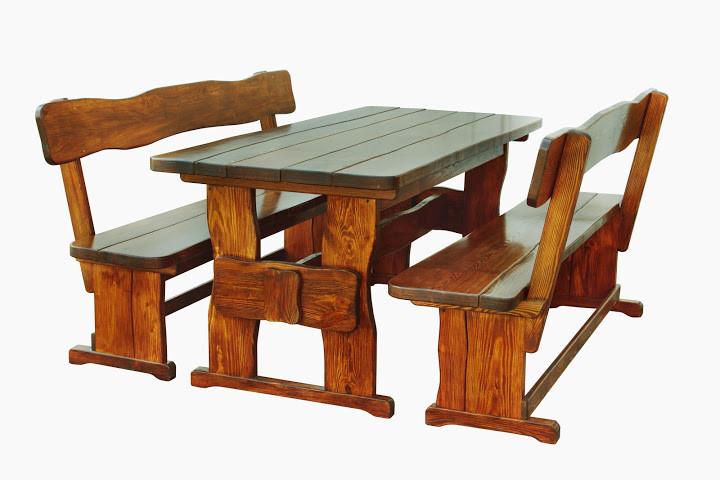 Садовая мебель из массива дерева 1800х800 от производителя для дачи, ресторанов, комплект Furniture set - 08