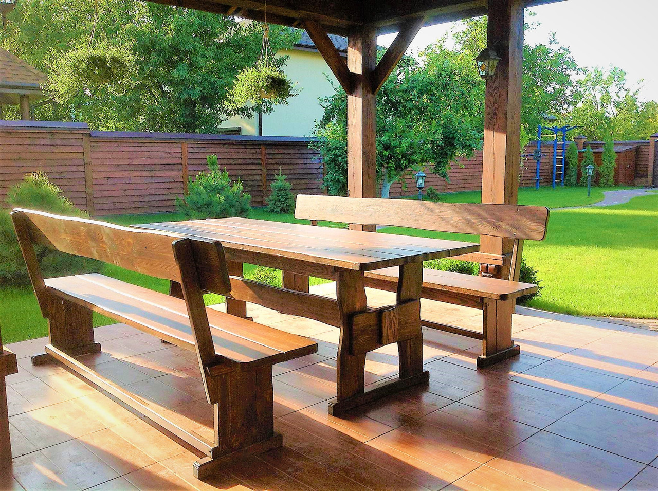 Садовая мебель из массива дерева 2200х800 от производителя для дачи, кафе, комплект Furniture set - 11