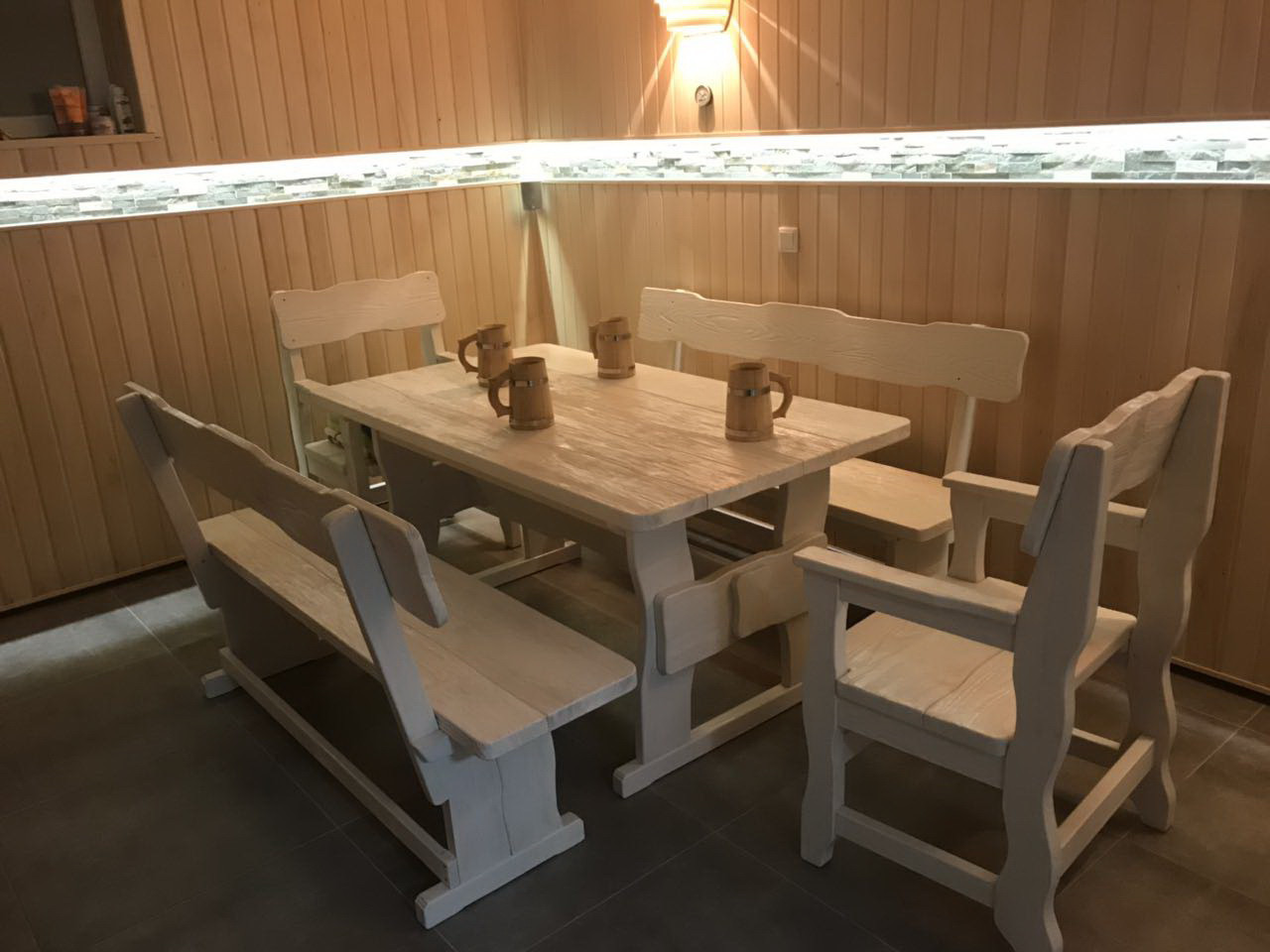 Садовая мебель из массива дерева 1500х800 от производителя для дачи, кафе, комплект Furniture set - 28