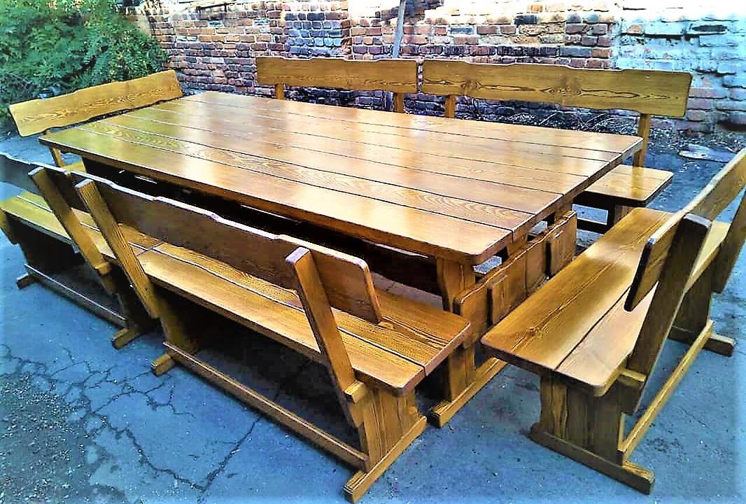 Садовая мебель из массива дерева 2500х800 от производителя для дачи, баров, комплект Furniture set - 13