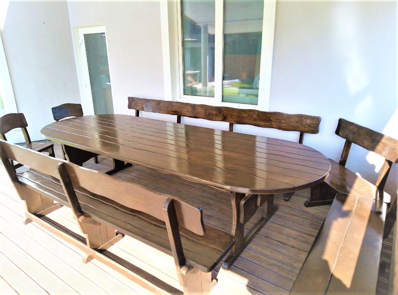 Садовая мебель овальная из массива дерева 3400х1200 от производителя для пабов, комплект Furniture set - 24
