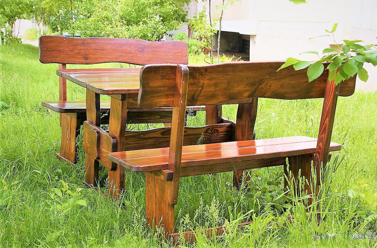 Садовая мебель из массива дерева 1200х800 от производителя для дачи, ресторанов, комплект Furniture set - 04
