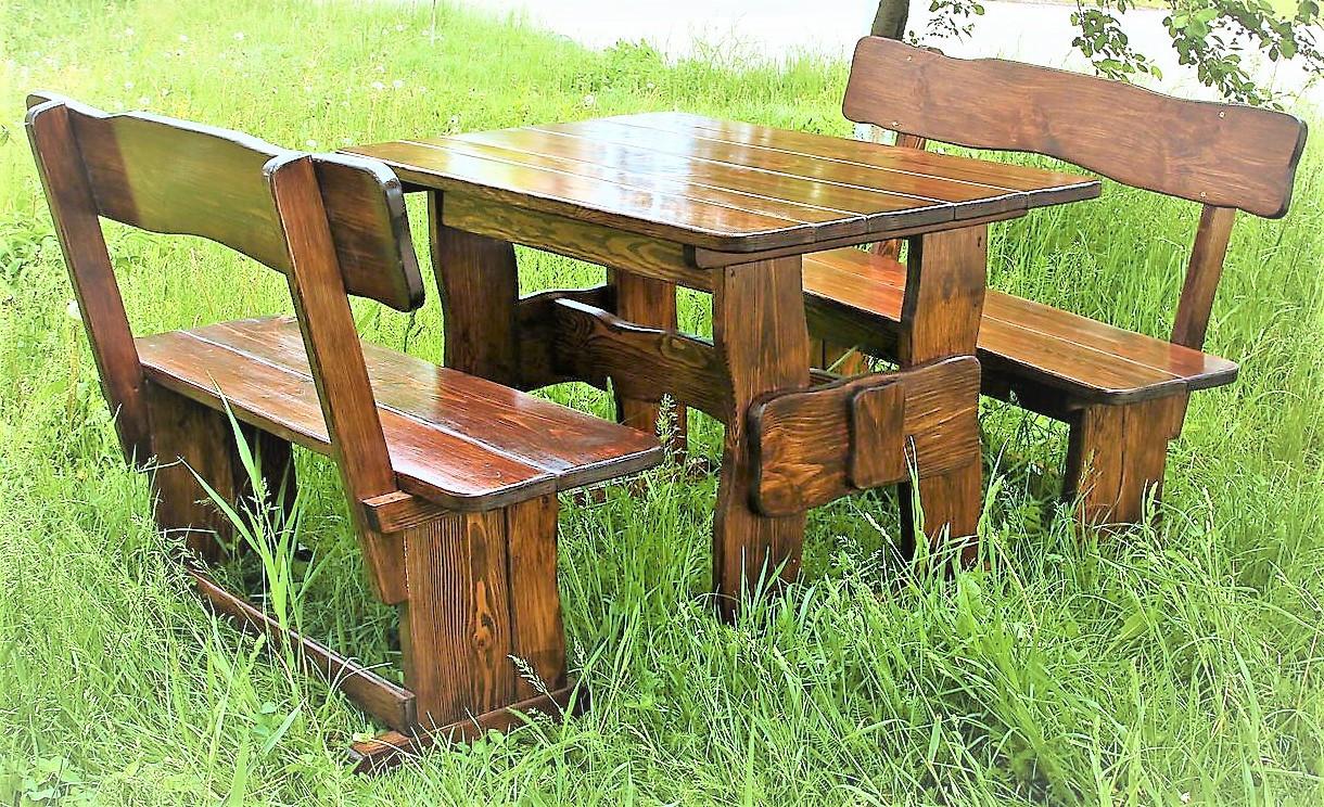 Садовая мебель из массива дерева 1400х800 от производителя для дачи, баров, комплект Furniture set - 05