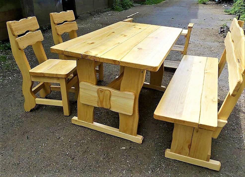 Садовая мебель из массива дерева 1600х800 от производителя для дачи, кафе, комплект Furniture set - 07