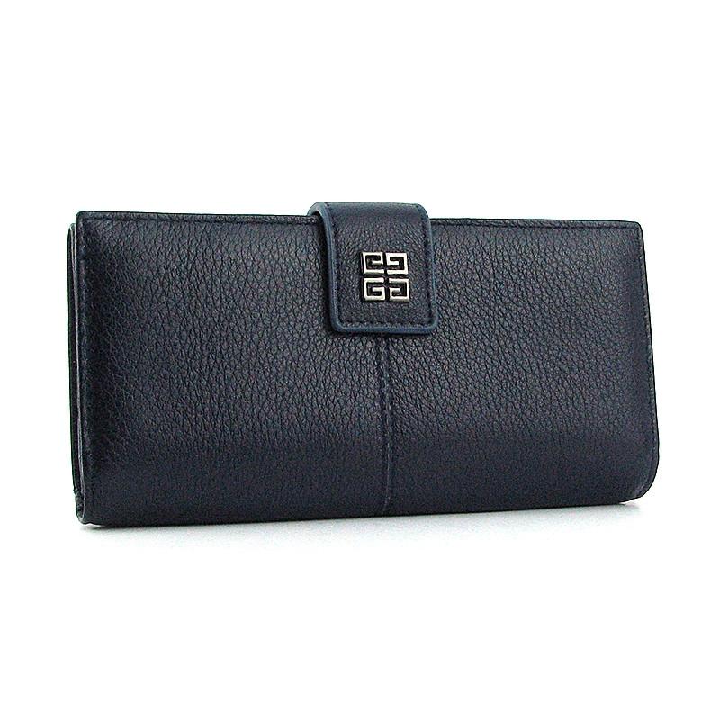 Шкіряний жіночий гаманець на кнопці синій 6287d