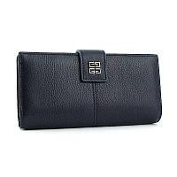 Шкіряний жіночий гаманець на кнопці синій 6287d, фото 1