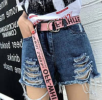 Жіночий тканинний ремінь пояс модний широкий 4 см під шорти джинси текстильний рожевий -019