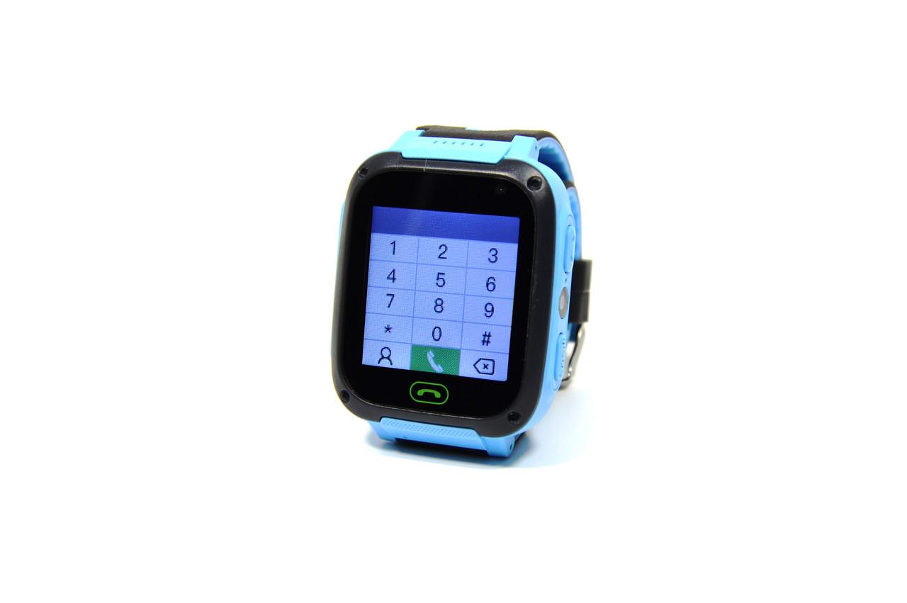 Детские наручные умные часы Smart Watch F2 (GPS + SOS+родительский контроль + фонарик)голубые