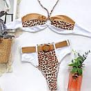 Раздельный белый купальник с высокой талией и леопардовыми вставками, фото 5
