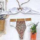 Раздельный белый купальник с высокой талией и леопардовыми вставками, фото 6