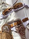 Раздельный белый купальник с высокой талией и леопардовыми вставками, фото 7