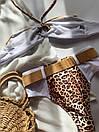 Раздельный белый купальник с высокой талией и леопардовыми вставками, фото 8