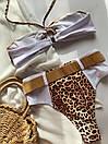 Раздельный белый купальник с высокой талией и леопардовыми вставками, фото 9