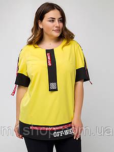 Яркая свободная блуза больших размеров с контрастными полосами и надписями (Аламоса lzn)