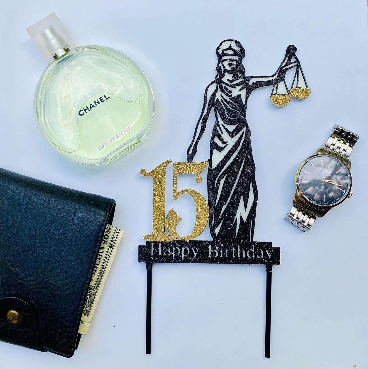 Топпер на торт Феміда з індивідуальною цифрою | Топпер для юриста | Топпер для правознавця