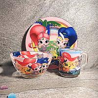 Набор детской стеклянной посуды для девочек Шиммер и Шайн 3 предмета