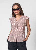 Летняя молодежная блуза в горошек с V - образным вырезом без рукавов