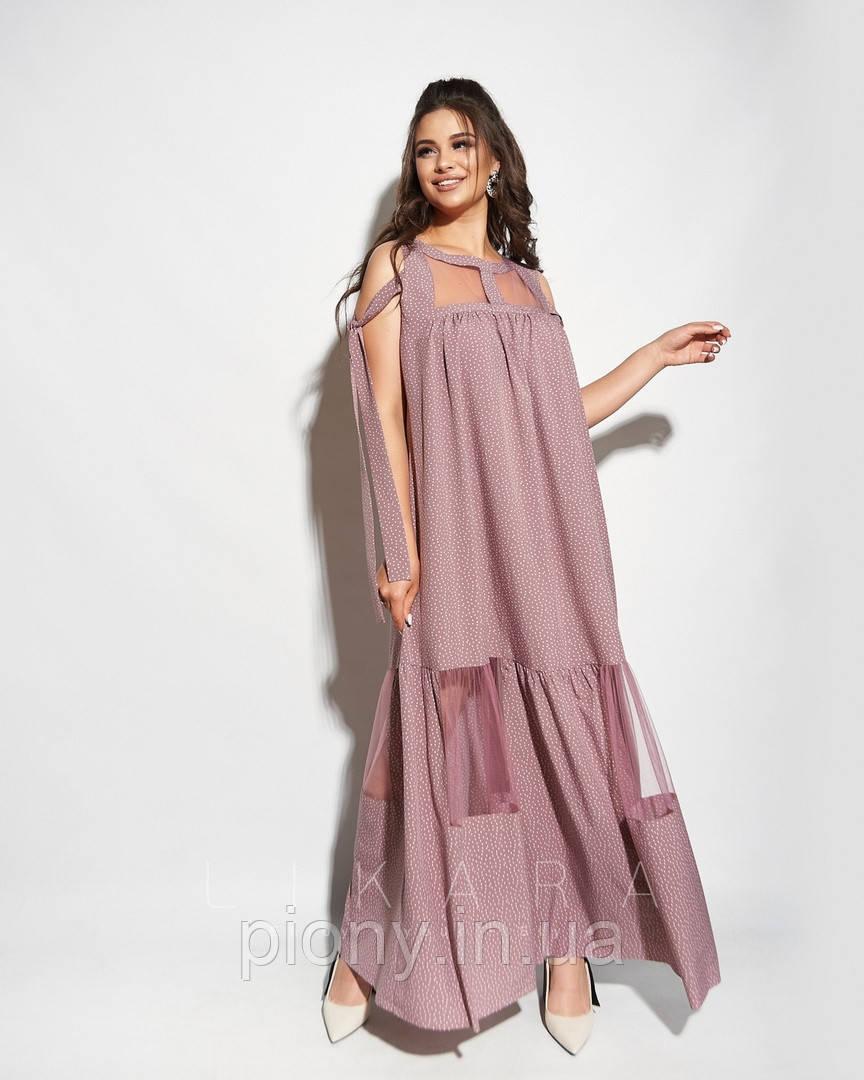 Женское Длинное Платье с сеткой Батал