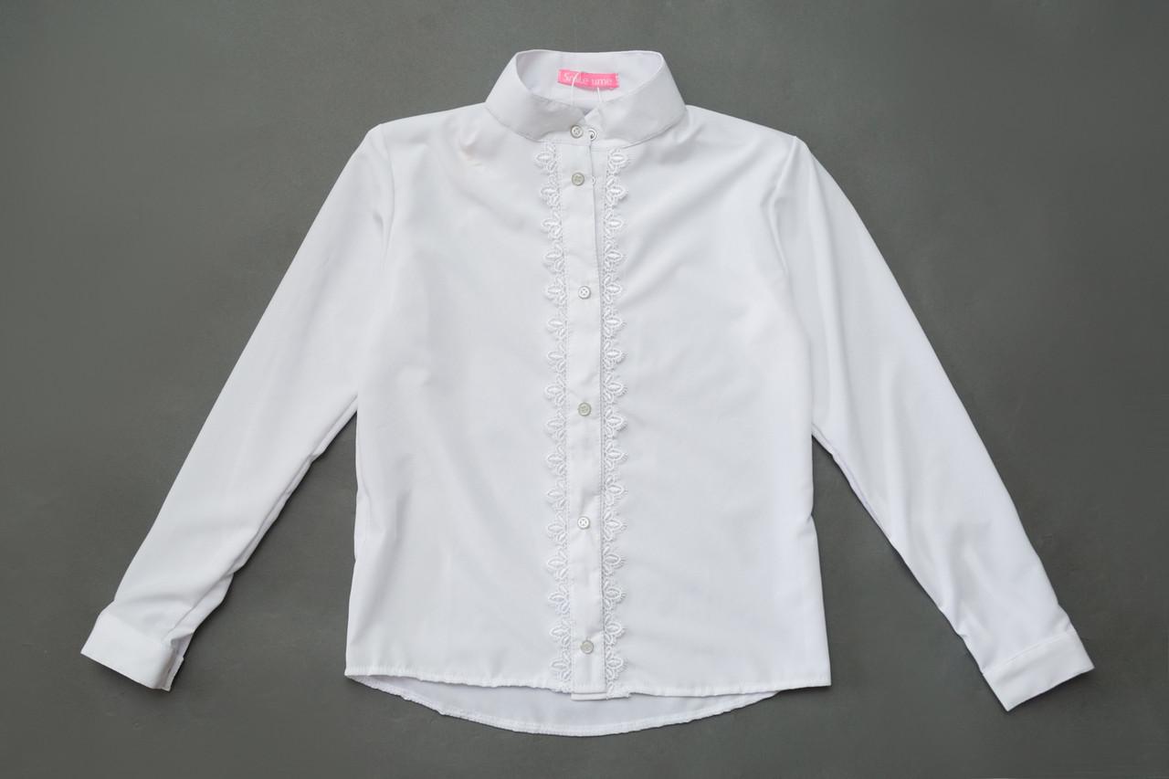 Рубашка молодежная SmileTime для девочки с длинным рукавом Soft, белая