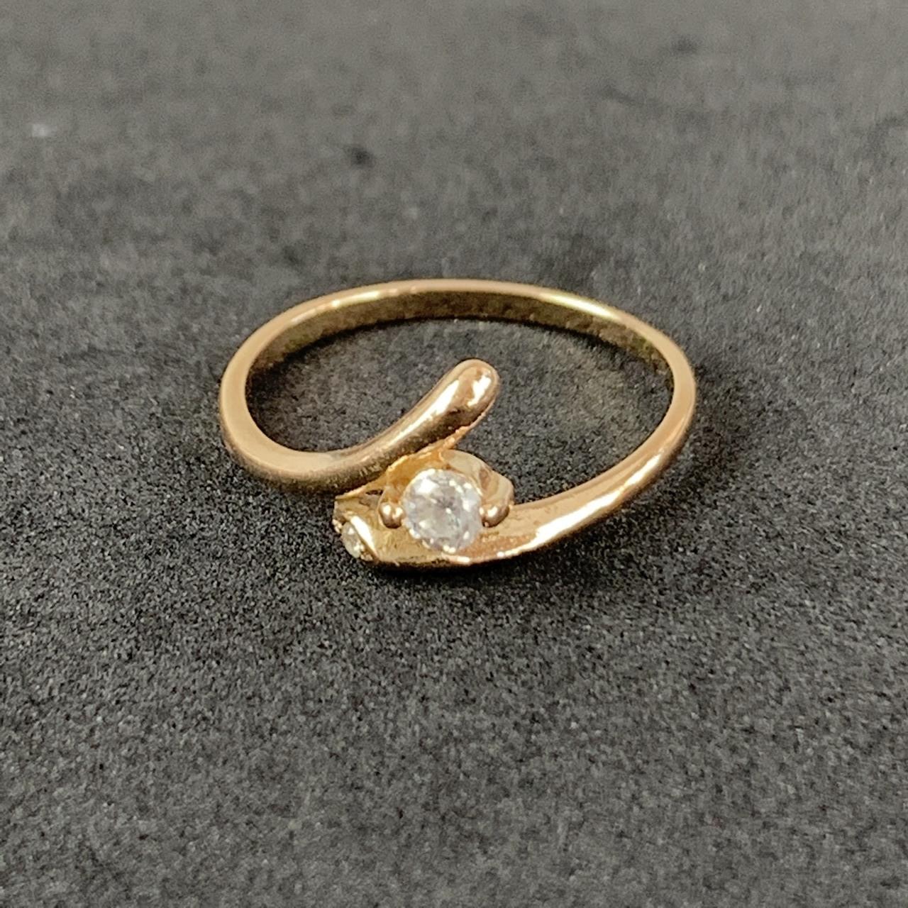 Золотое кольцо Б/У с фианитами 583 пробы, вес 1.83 г