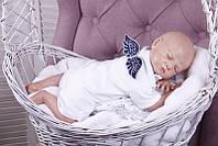 Детский боди Ангел (белый с синим)