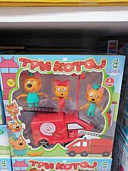 """Набір фігурок """"Три кота"""" PS661 (3 фігурки і пожежна машина)"""