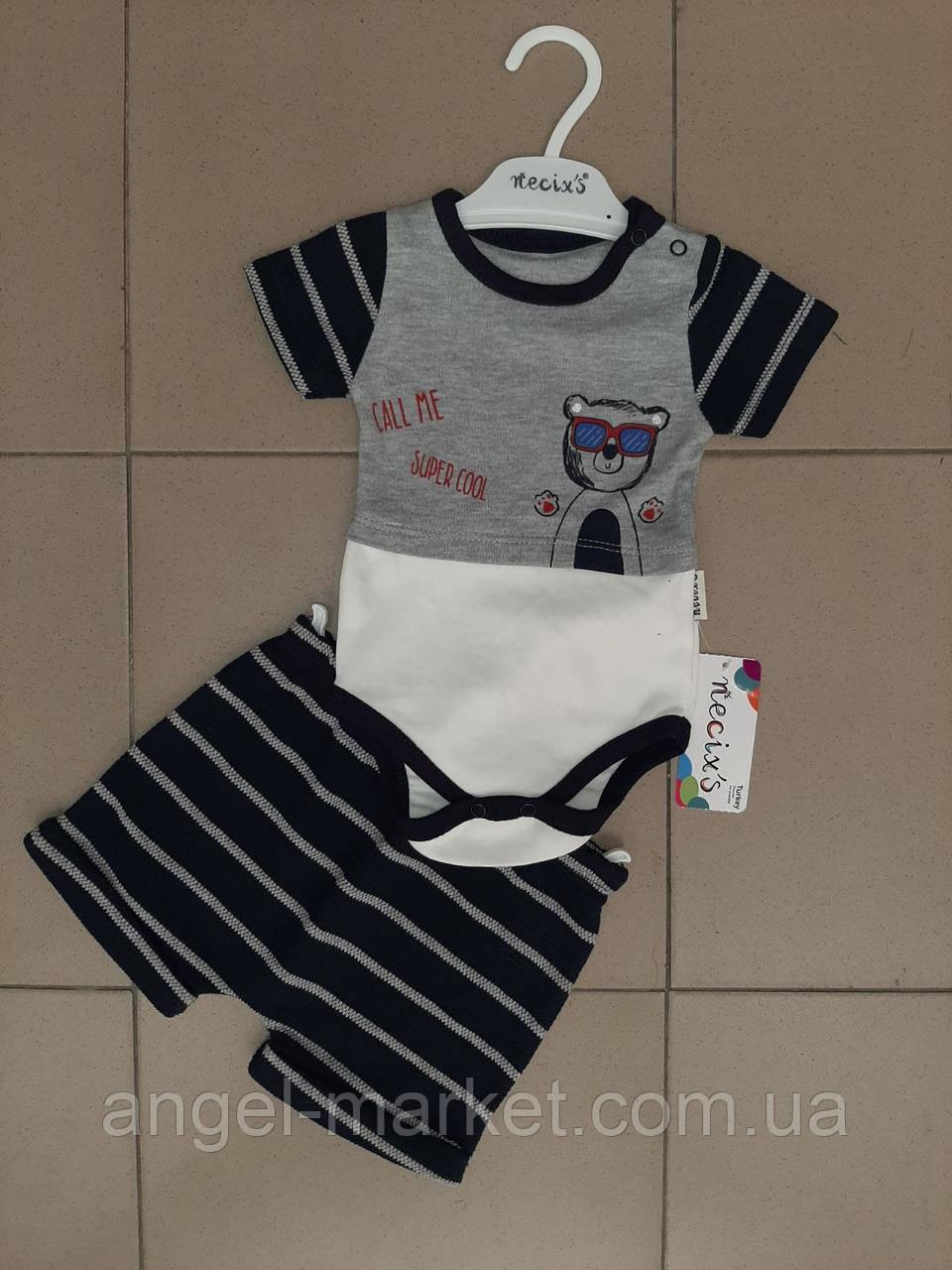 Костюм для мальчика двойка шорты+футболка-боди с принтом 0-3:3-6:6-9: мес Новинка 2020