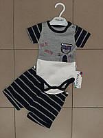Костюм для мальчика двойка шорты+футболка-боди с принтом 0-3:3-6:6-9: мес Новинка 2020, фото 1
