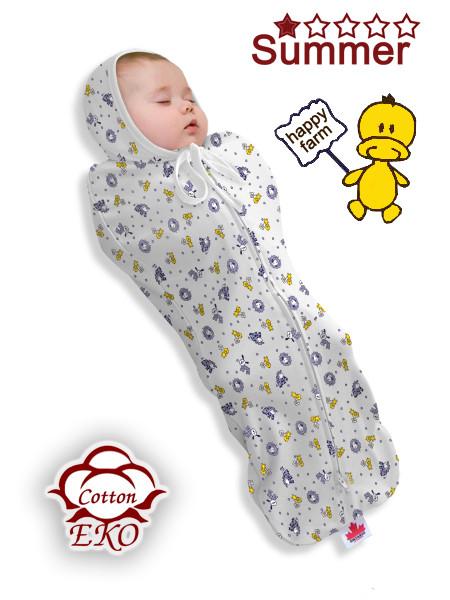 """Пеленка-кокон на молнии для новорожденного """"Веселая ферма"""" - Ontario Baby (DS1/Summer)"""