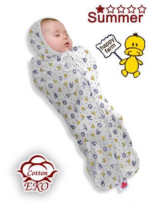 """Пеленка-кокон на молнии для новорожденного """"Веселая ферма"""" - Ontario Baby (DS1/Summer), фото 2"""