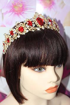 Золотая диадема корона с красными и белыми камнями горный хрусталь