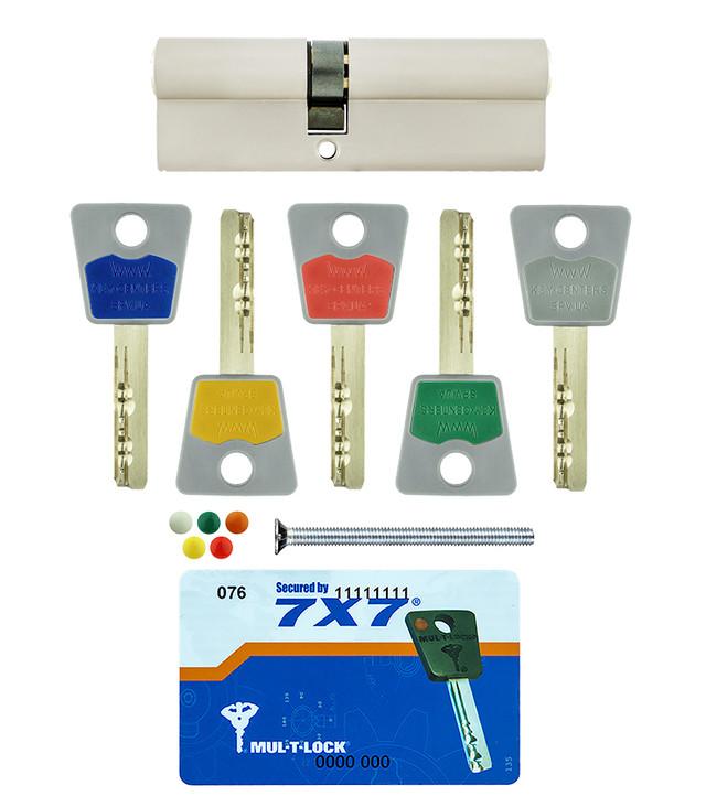 Цилиндр Mul-t-lock 7х7 ключ/ключ никель сатин фото