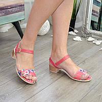 Женские кожаные босоножки на маленьком каблуке, цветы/коралл. 39 размер