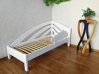 """Детская кровать (90х200) с защитным бортиком в белом цвете из массива дерева """"Радуга"""""""