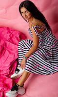 Молодежный сарафан свободного кроя  в пол из ткани штапель в яркий летний принт