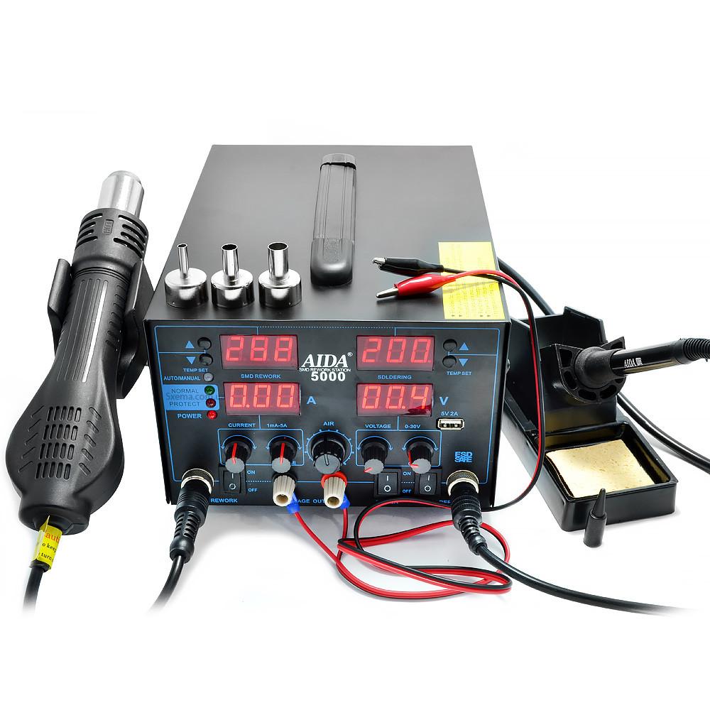 Паяльна станція Aida 5000 з блоком живлення 30V 5A і турбінним феном