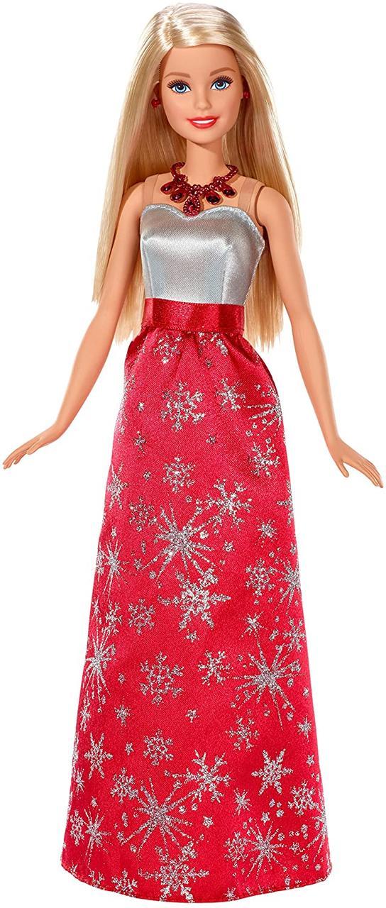 Кукла Барби Оригинал Праздничная в красном платье со снежинками (FDR53)