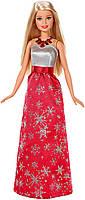 Кукла Барби Оригинал Праздничная в красном платье со снежинками (FDR53), фото 1