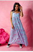 Молодежный сарафан свободного кроя  в пол из ткани штапель в яркий летний принт белый+голубой