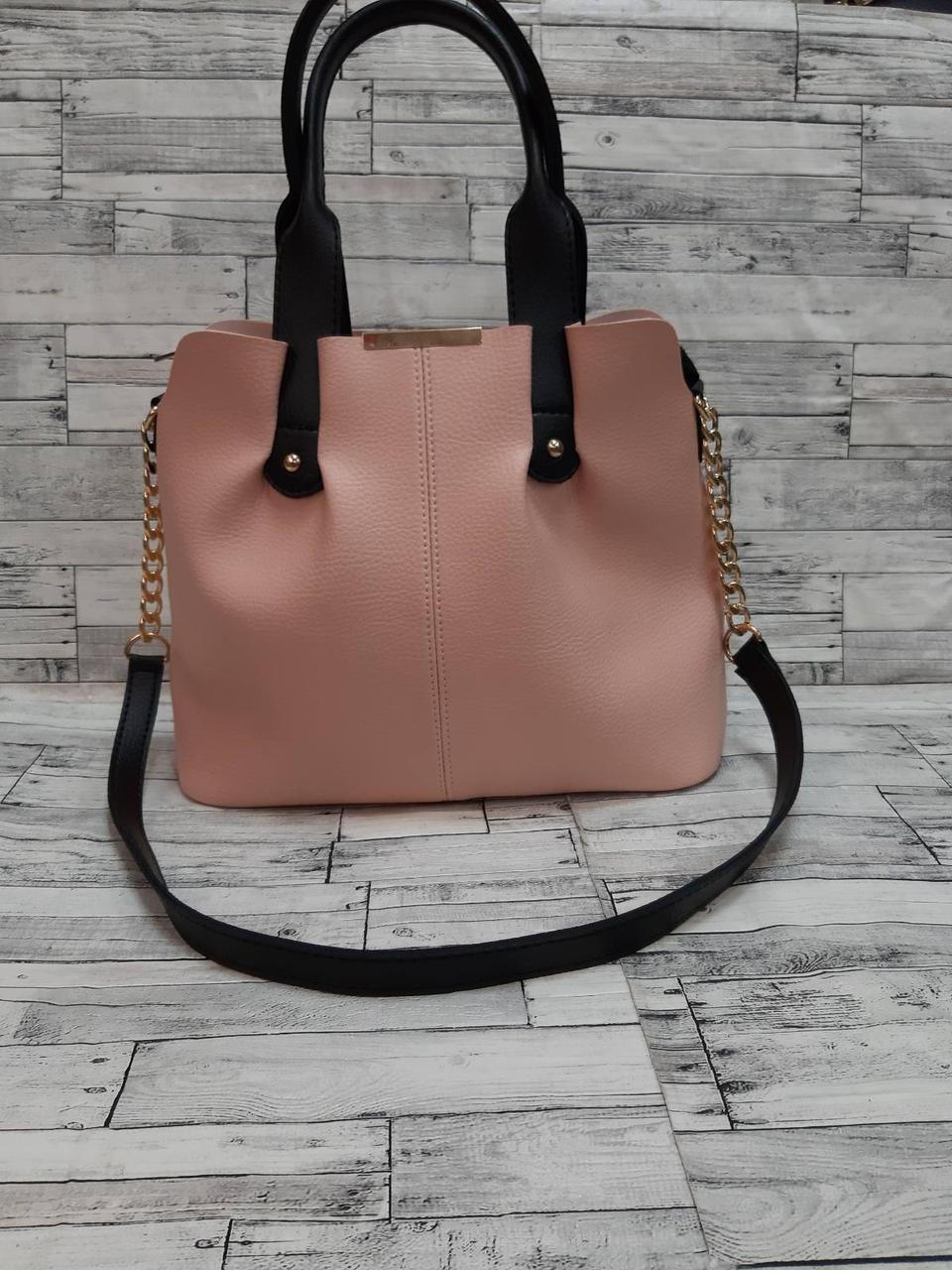 Стильна Жіноча Сумочка сумка з еко-шкіри. Пудра/Чорний
