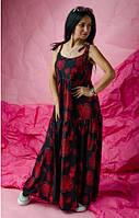 Молодежный сарафан свободного кроя  в пол из ткани штапель в яркий летний принт черный+красный