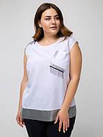 Свободная летняя белая блуза больших размеров с пайетками и бусинками (Вейла lzn)