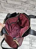 Стильна Жіноча Сумочка сумка з еко-шкіри. Бордо/Чорний, фото 2