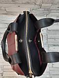 Стильна Жіноча Сумочка сумка з еко-шкіри. Бордо/Чорний, фото 3