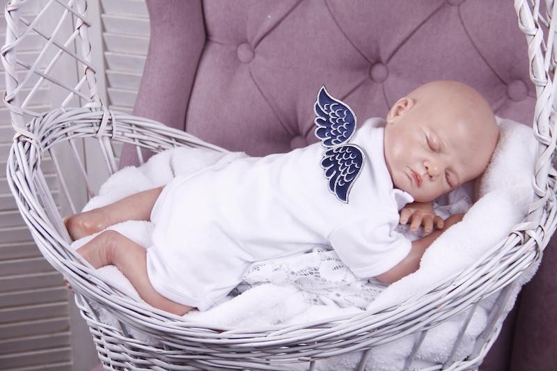 """Боди для малышей """"Ангел"""", белый с синим"""