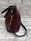Стильна Жіноча Сумочка сумка з еко-шкіри. Бордо/Чорний, фото 4