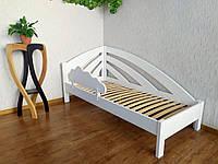 """Детская кровать (90х200) с защитным бортиком в белом цвете из массива дерева """"Радуга"""" 90х200, слоновая кость, правый"""