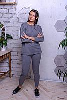 Теплий жіночій зимовий в'язаний костюм W-30986 сірого кольору L\XL