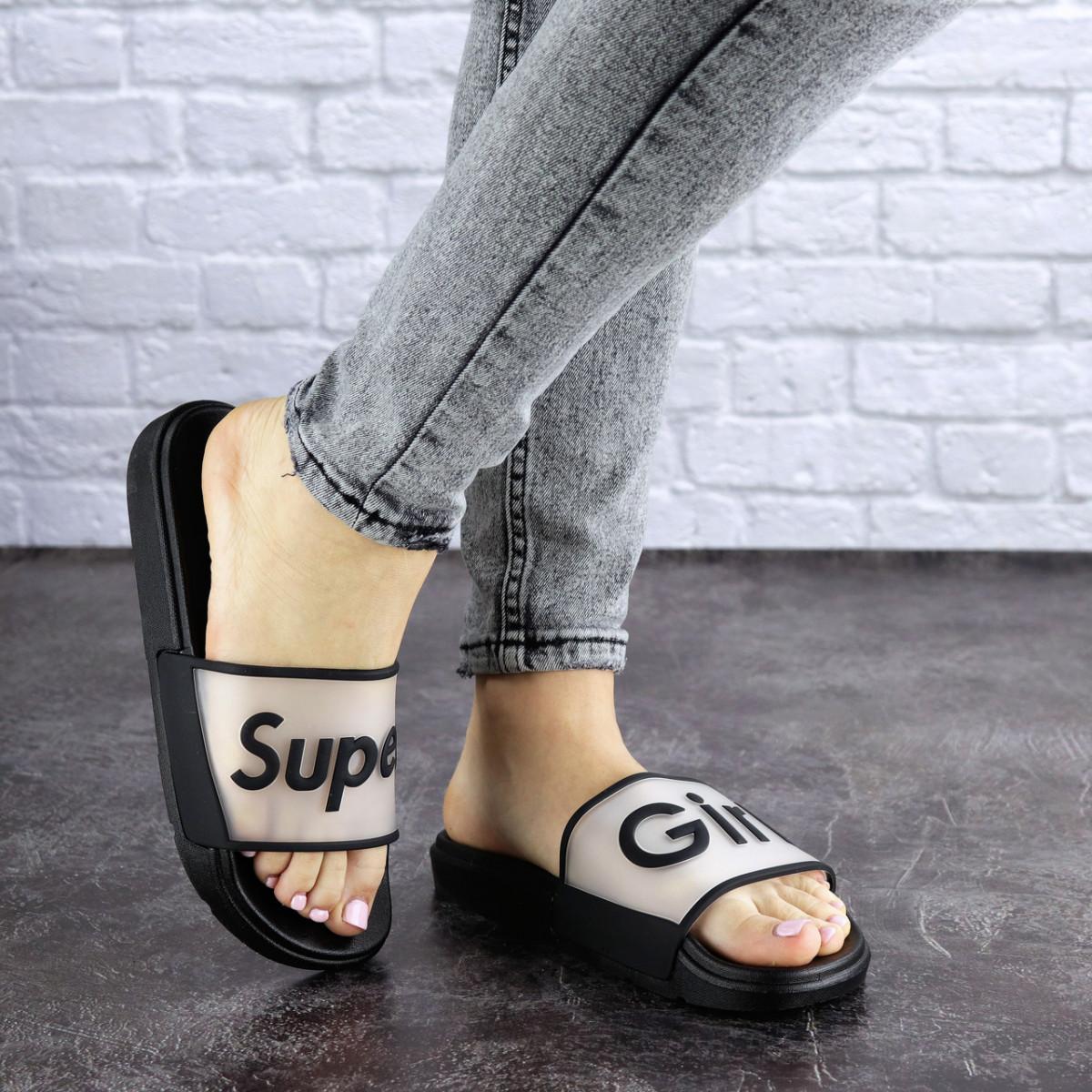 Женские черные шлепки Super 1773