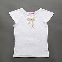Блузка белая р.122,128,134,140,146,152 для девочки SmileTime короткий рукав Аzhur с брошью, белый
